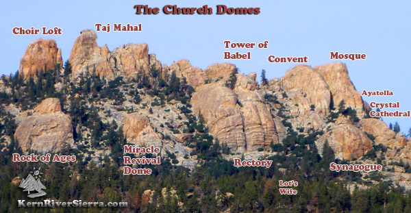 Church Domes in Sequoia National Forest - the Names