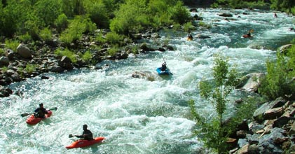 Paddlers on the upper Kern River